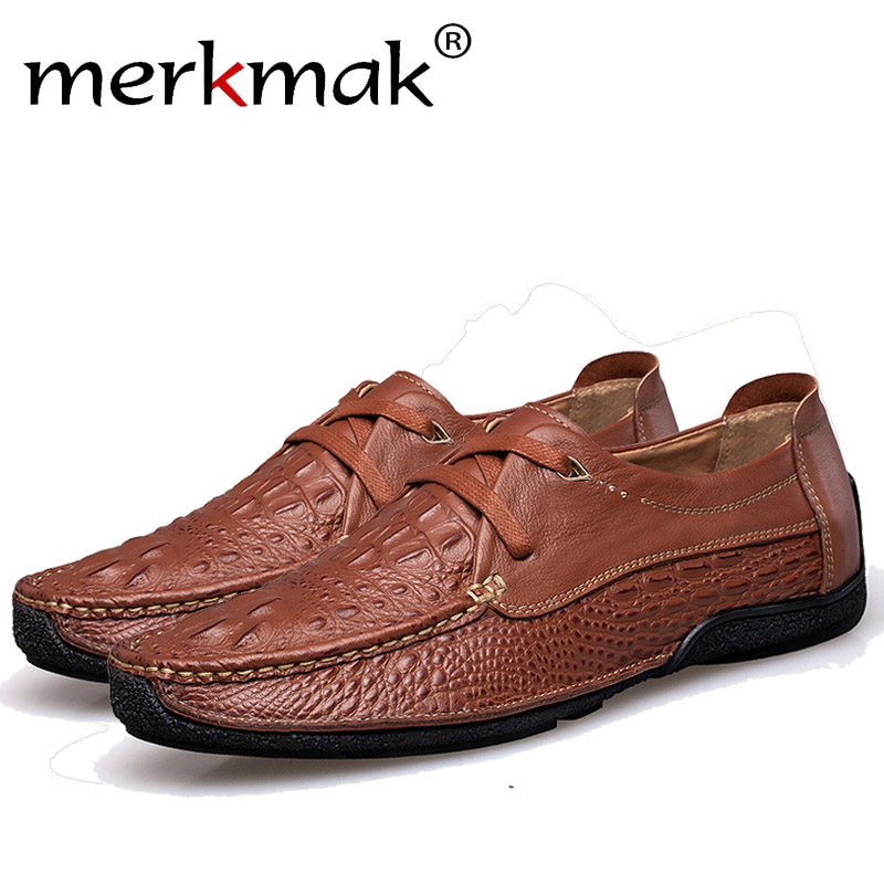Merkmak Men Loafer Shoes Fashion Genuine Leather Casual Slip On Breathable Man Flats Shoes Newly Business Driving Male Footwear wonzom high quality genuine leather brand men casual shoes fashion breathable comfort footwear for male slip on driving loafers