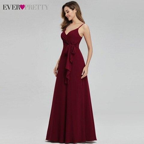 Ever Pretty Elegant Burgundy Bridesmaid Dresses Long A-Line V-Neck Spaghetti Straps Long Wedding Guest Dresses Vestido Madrinha Karachi
