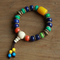 Ethnic Jewelry Wholesale Handmade Natural Bone Nepal Copper Beads Bracelet E 136