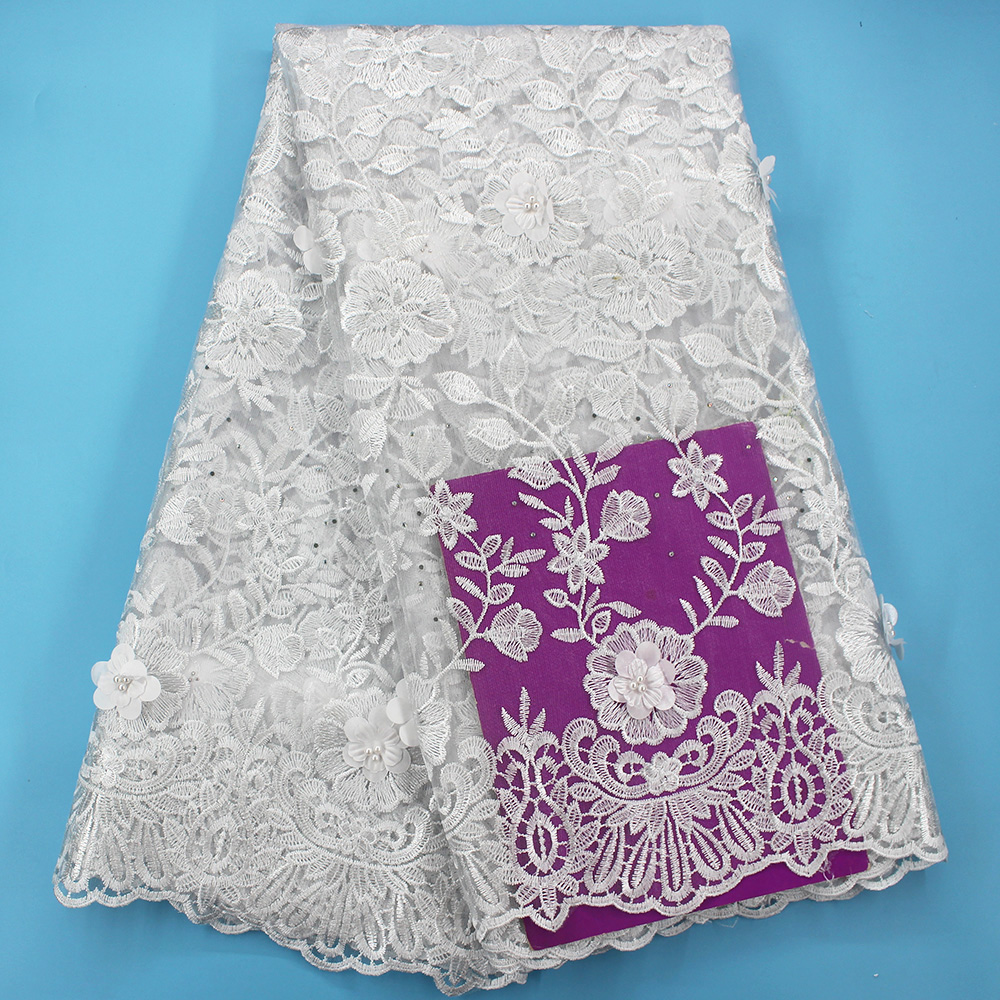 Tulle white lace fabrics 5 yards gold 3d lace fabric 2019 high quality african lace fabric