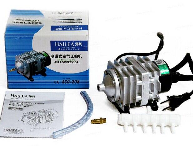 Livraison gratuite 45L/min 25 W Hailea ACO-208 compresseur d'air électromagnétique, pompe à Air d'aquarium, oxygène d'aquarium