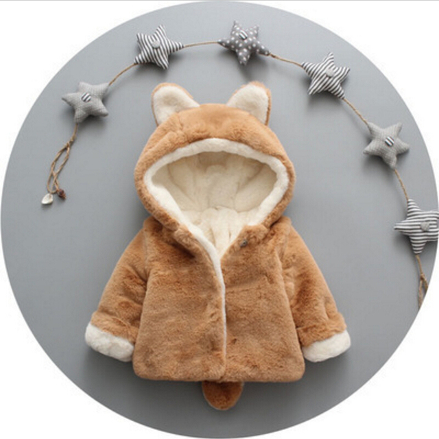 New Style Cartoon Baby Coat,Pink Khaki Newborn Baby Winter Clothes,Infant Kids Jackets Girls Boys,Child Outerwear with Ear Tail