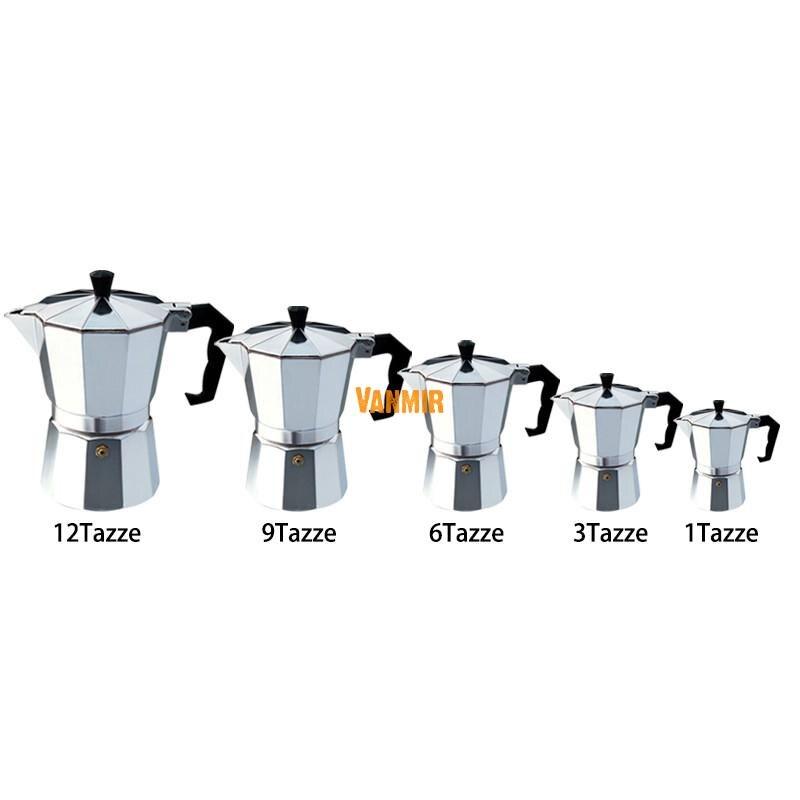 Moka cafetera Espresso/glantop aluminio 1 taza/3 tazas/6 tazas/9 tazas/12 tazas placa encimera Italiana/olla del percolador herramienta