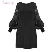 APOENGE 2017 new plus size dresses for women 4xl 5xl long puff sleeve mini dresses for 200 pounds women lace autumn dress LZ224