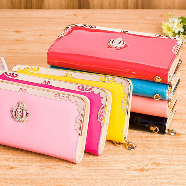 Women's Wallets Solid Pink Color PU Leather Long Phone Clutch Wallets