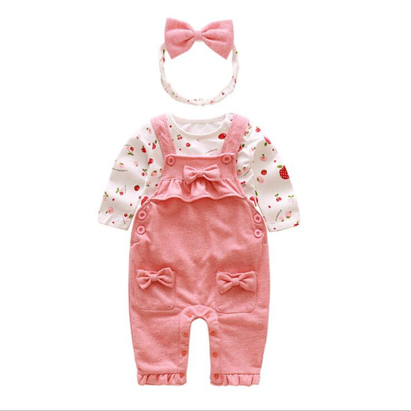 Newborn Baby Girl Clothes Braces Spring Autumn Cotton Set Children Baby Girl Clothes Long Sleeve Baby Set 3 Pcs Kids Clothes купить в Москве 2019