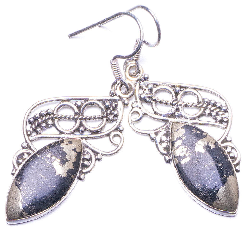 Natural Apache Gold Stone Handmade Unique 925 Sterling Silver Earrings 2 Y1421