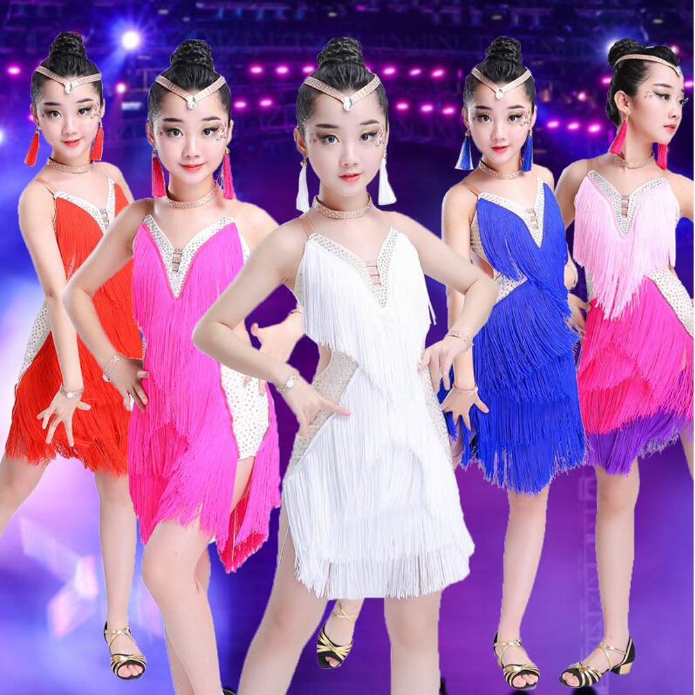 Professional Children Sequined Latin Dance Costumes Ballroom Salsa Latin Dancing Dress Kids Tassels Stage Performance Dance Wear