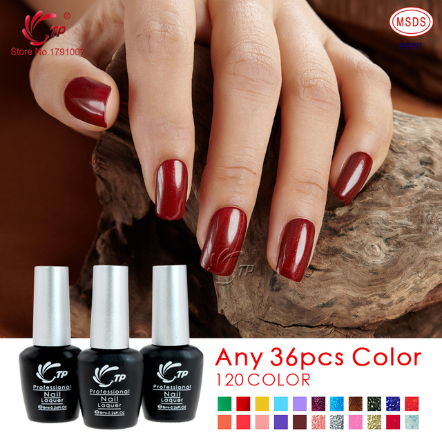 TP Brand 36pcs/lot 10seconds Speed Cure Nail Gel Polish 8ml Long Lasting Soak-Off UV Gel Varnishes Nails Beauty Manicure Tools