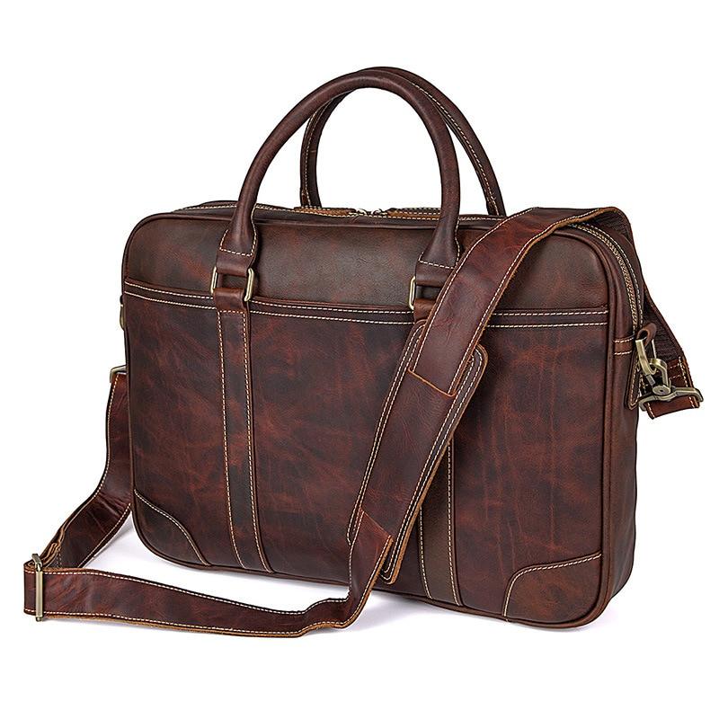 Nesitu Highend Vintage Black Brown Chocolate Genuine Leather Men Briefcase 14'' Laptop Portfolio Business Messenger Bag M7349