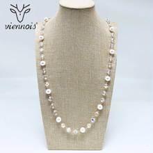 Collar largo de cuentas de Viennois para mujer, collar de perlas de colores combinados, collar de cadena de suéter, collar de estilo coreano, joyería