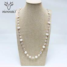 Viennois Geometric Sweater Chain Rose Gold / Silver Color Beading Long Necklace For Women Trendy Style Female Party Jewelry