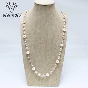 Image 1 - Viennois Perle Lange Halskette Für Frauen Mischen Farbe Perle Halskette Pullover Kette Halskette Koreanische Stil Halskette Mode Schmuck