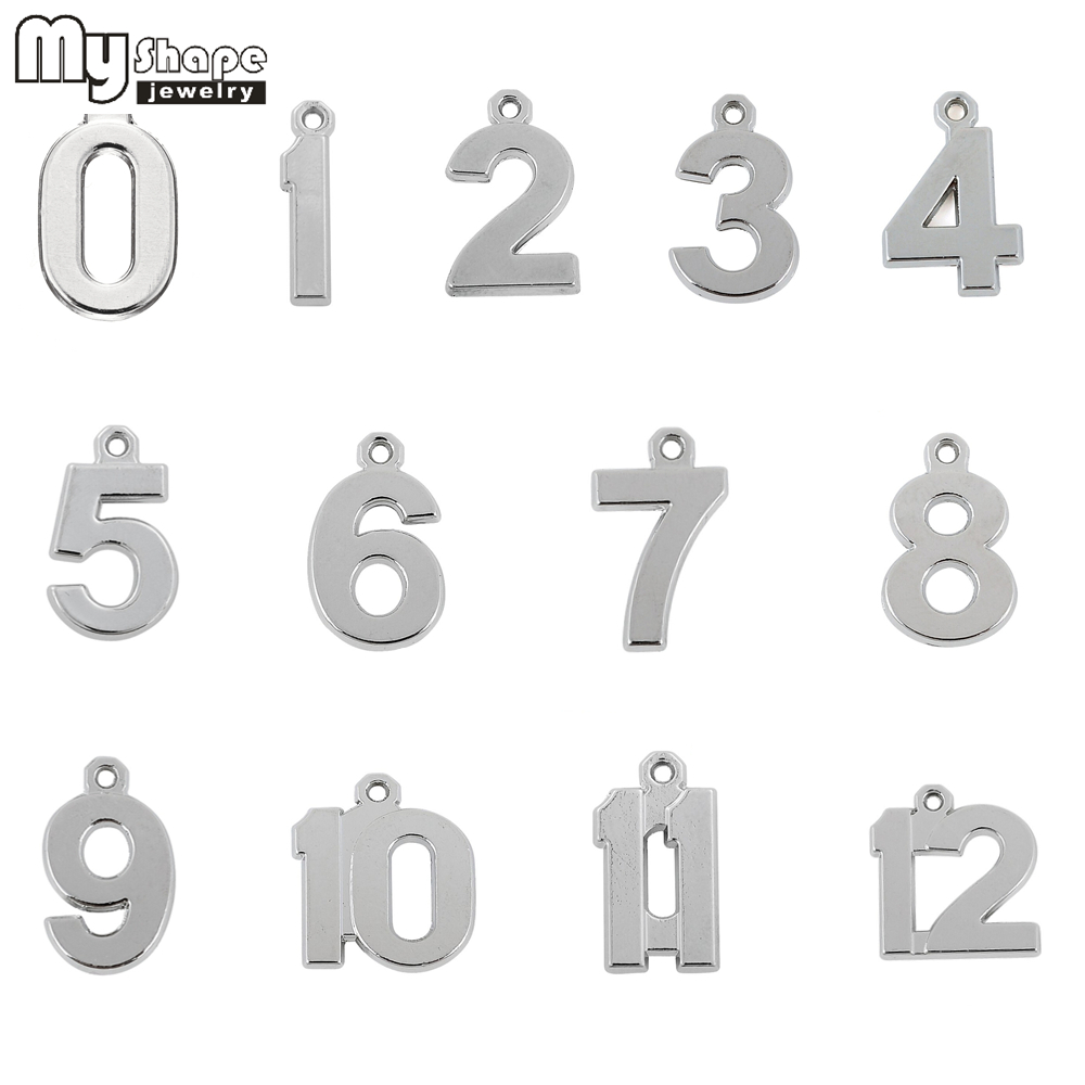 0-12 Numbers Charms to Choose Antique Silver Plated 20pcs Lucky Number DIY Floating Pendant 0 1 2 3 4 <font><b>5</b></font> 6 7 8 9 10 11 12 image