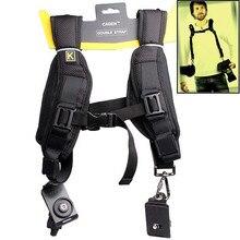 Black Soft Padded Nylon Quick Double Shoulders DSLR Camera Sling Neck Shoulder Belt Strap for All SLR DSLR Cameras