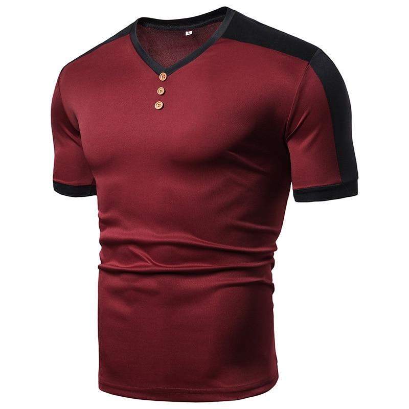 MarKyi 2019 Fashion Patches T-shirt For Men Summer New Short Sleeve Tshirt Men White V Neck
