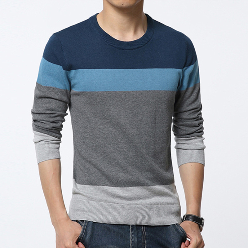 New Sweater Men Autumn Hot Sale Top Design Patchwork Cotton Soft Quality Pullover Men O-neck Casual Sweater.