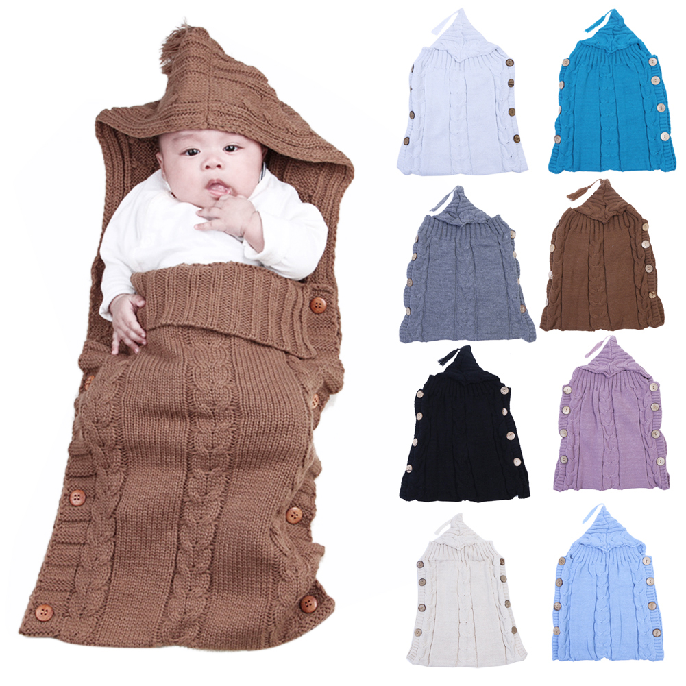 Newborn Baby Wrap Swaddle Blanket Wood Button Tassel Cap Sweater Infants Knitted Solid Baby Sleeping Bag Blanket & Swaddling
