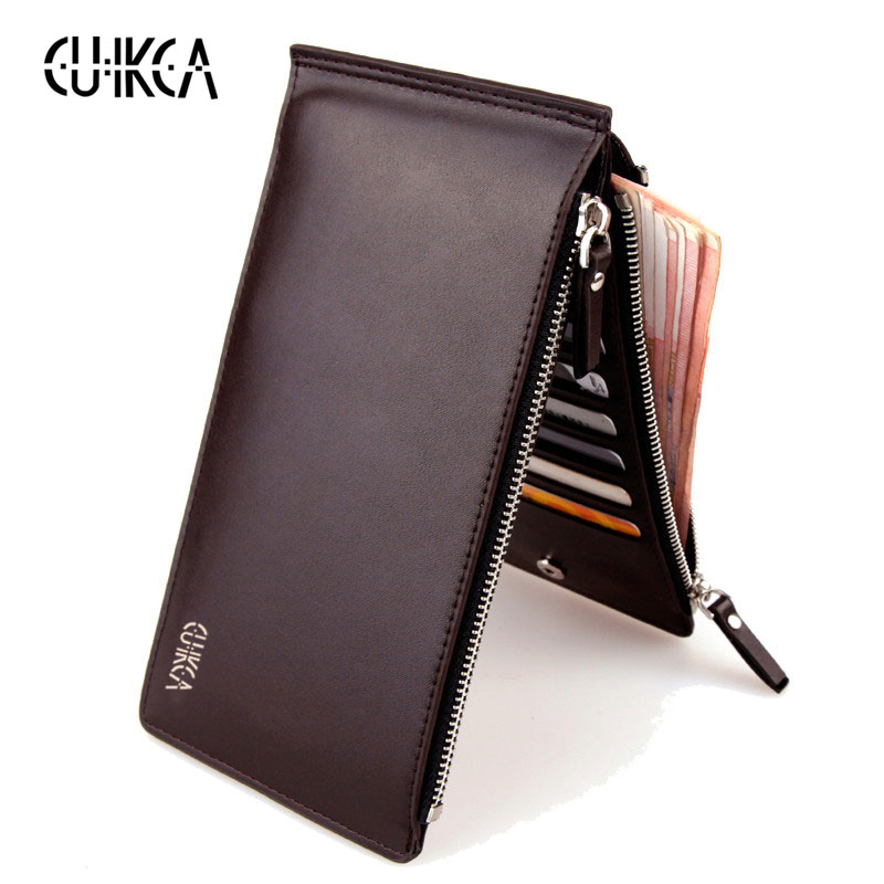 CUIKCA Men Wallet Double Zippers Clutch Handbag Leather Wallet Coin Zipper Wallet Purse ID Credit Card Holders Cases Carteira 2017 wholeworld market fashion clutch handbag wallet women cat pattern coin purse short wallet card holders handbag a 4