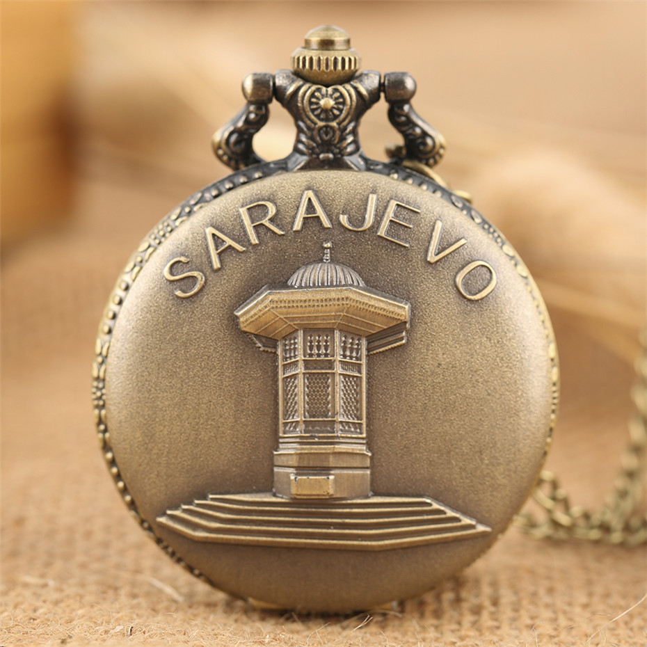 Retro Bronze Sarajevo Sapele Pavilion Fountain Display Full Hunter Pocket Watch Quartz Timepiece Souvenir Necklace Clock Gifts