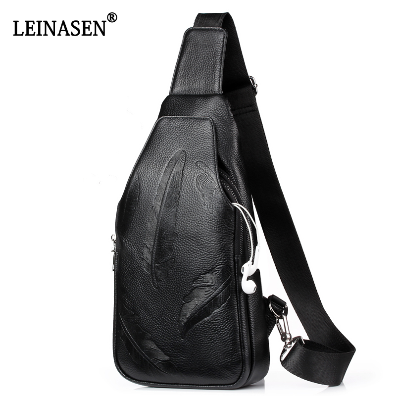 Fashion Men Messenger Bags Leather Chest Pack Casual Men Travel Shoulder Bag Feather print shoulder Bag Crossbody Sacoche Homme men s bags chest pack casual single shoulder back strap male bag split leather high capacity chest bag crossbody leather