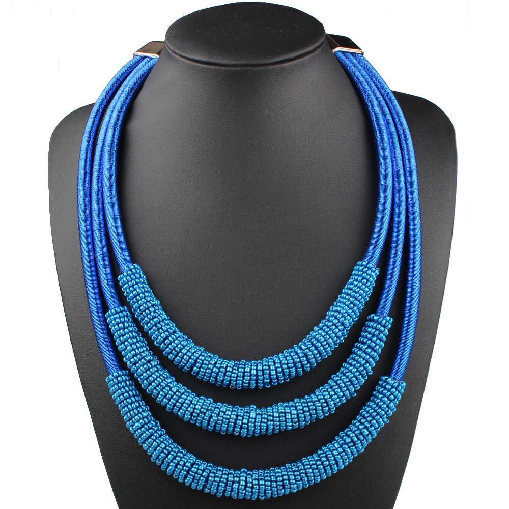 Claire Jin Handmade Small Bead Choker Bohemian Necklace Short Women Necklaces Fashion Manual Braiding Collar Ethnic Jewelry