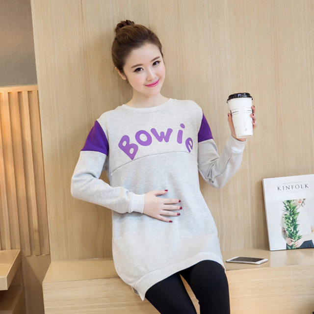 2017 Long Sleeve Maternity Nursing T Shirt Breastfeeding Shirts For Pregnant Nursing Top Tees Pregnancy Wear Lactation Clothing