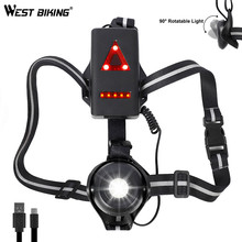 WEST BIKING Running Light 2200mAh USB Battery Night Warning Front Chest Cycling Fishing Hiking Camping Bicycle Lamp