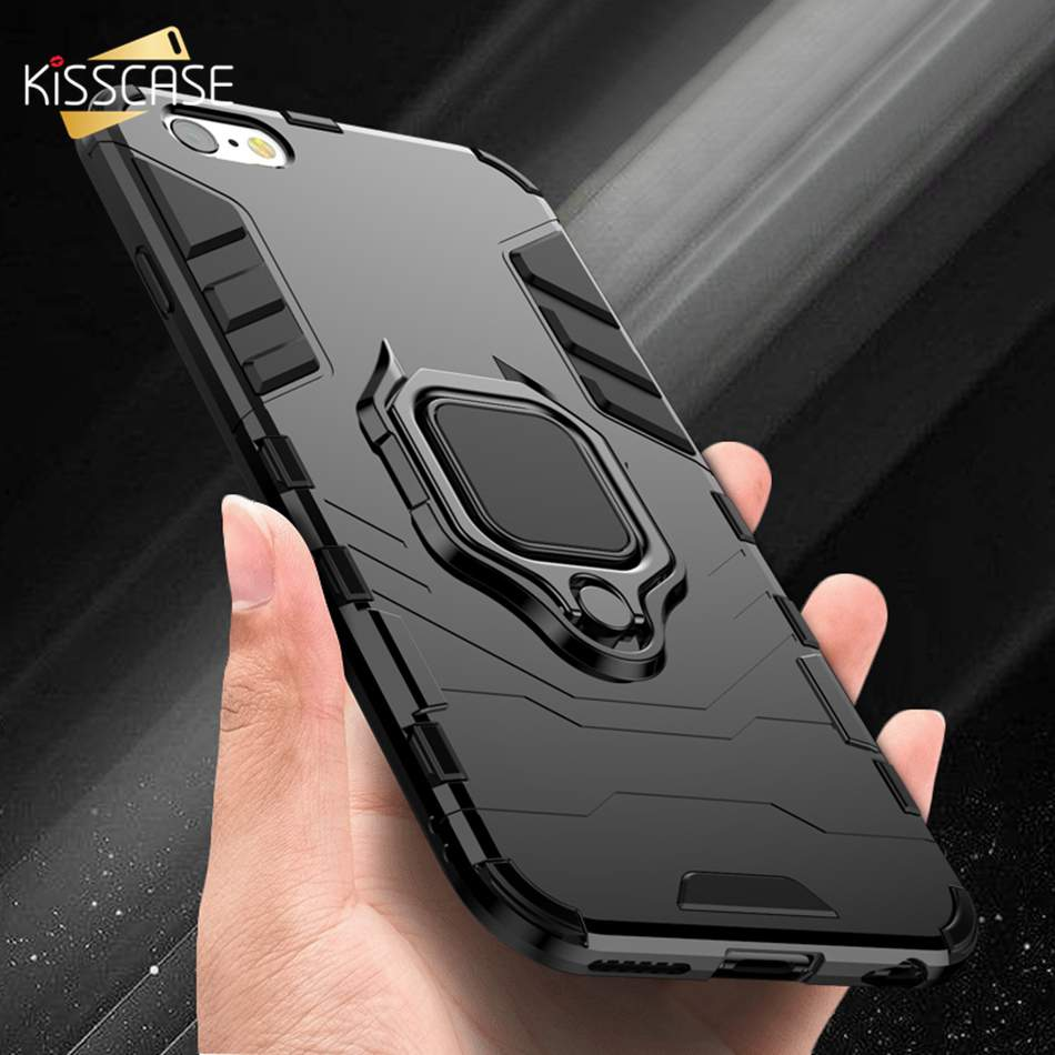 best sneakers 78be4 27f28 US $2.99 20% OFF|KISSCASE Shockproof Case For iPhone 6 6S 7 8 Plus XS Case  For iPhone X 5 5S Se XS Xs Max XR Finger Ring Holder Phone Cover Coque-in  ...