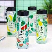 JOUDOO האופנה חדשה אננס פירות מודפסים בקבוק מים 460 ml חיצוני ספורט שתיית בקבוקי זכוכית Drinkware לילדים בית ספר