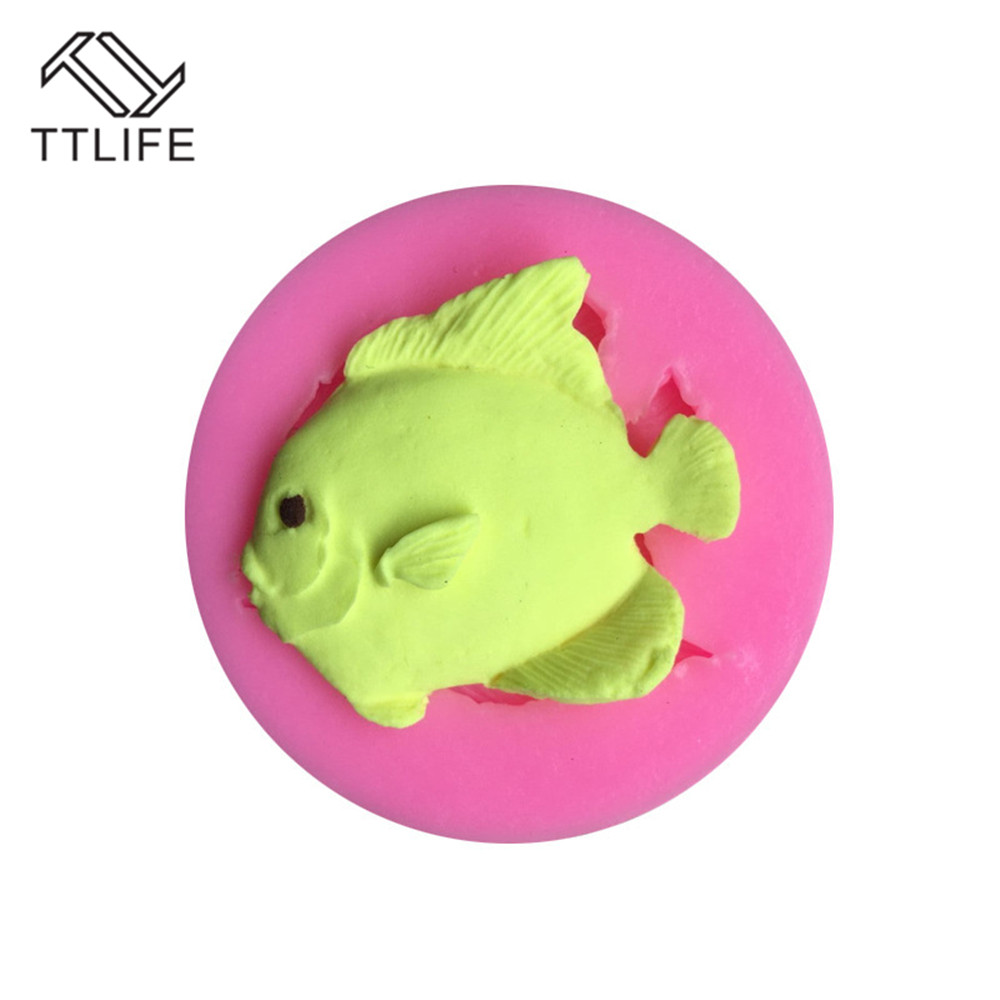 TTLIFE 3D Fish Food Grade Silicone Mold Fondant Cake Decorating Tool Chocolate Gumpaste Soap Pastry Dessert Kitchen Baking Mould