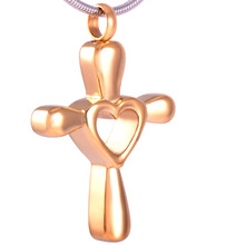 Cross with Hollow Heart Urn Necklace