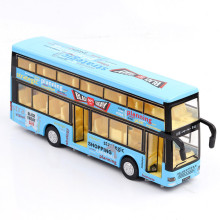 1:36 Childrens double-decker bus model alloy simulation car voice station return truck sound-optic pendulum toy