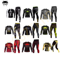 Hot Venom tight fitting quick drying suit long sleeved basketball training suit UFC MMA fighting wear resistant clothing running