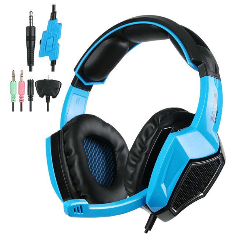SADES SA920 Gaming Headset 7.1 Surround Sound Game Headphones with Mic for Xbox One / Xbox 360 / PS4 / PC /Cell phones / iPad 3 in 1 sades sa922 pro gaming headset 7 1 surround sound stereo headphones earphones casque with mic for xbox 360 ps3 pc gamer