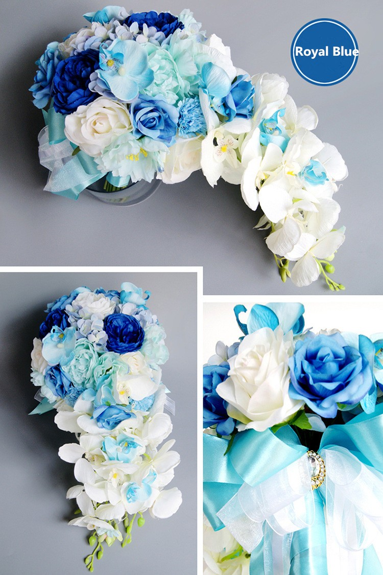 Modabelle artificial waterfall royal blue wedding bouquets for new style droplets wedding bouquets for brides artificial waterfall pearl bridal izmirmasajfo