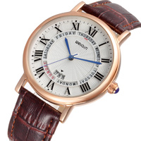 WEIQIN Day Week Rose Gold Case Fashion Watches Women Leather Strap Roman Style Quartz Watch Simple