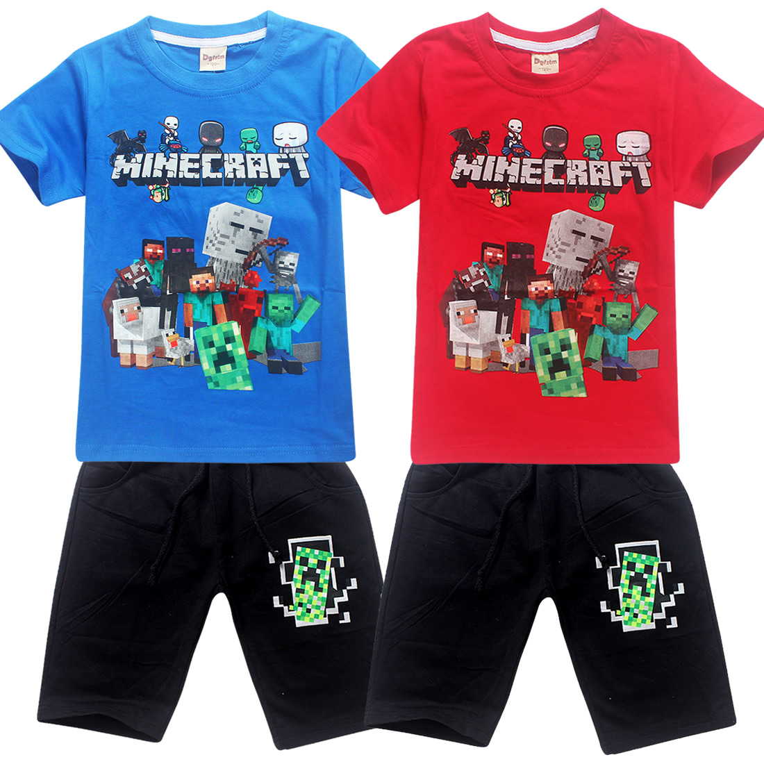 2018 New Summer T-shirt + Shorts 2pcs Suit Minecraft Short Shirt Casual T Shirt+pant Baby Set Kids Baby Boys Clothes Set Tops fashion baby girl t shirt set cotton heart print shirt hole denim cropped trousers casual polka dot children clothing set