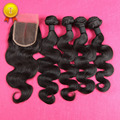 7A Brazilian Virgin Hair With Closure 4 Bundles With Closure Unprocessed Brazilian Body Wave With Closure DHL Free Shipping