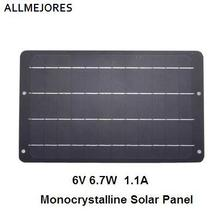 Solar Panel 6V 6.7W 1.1A Monocrystalline perfer Quality small size solar panel for DIY soalr charger .Light etc