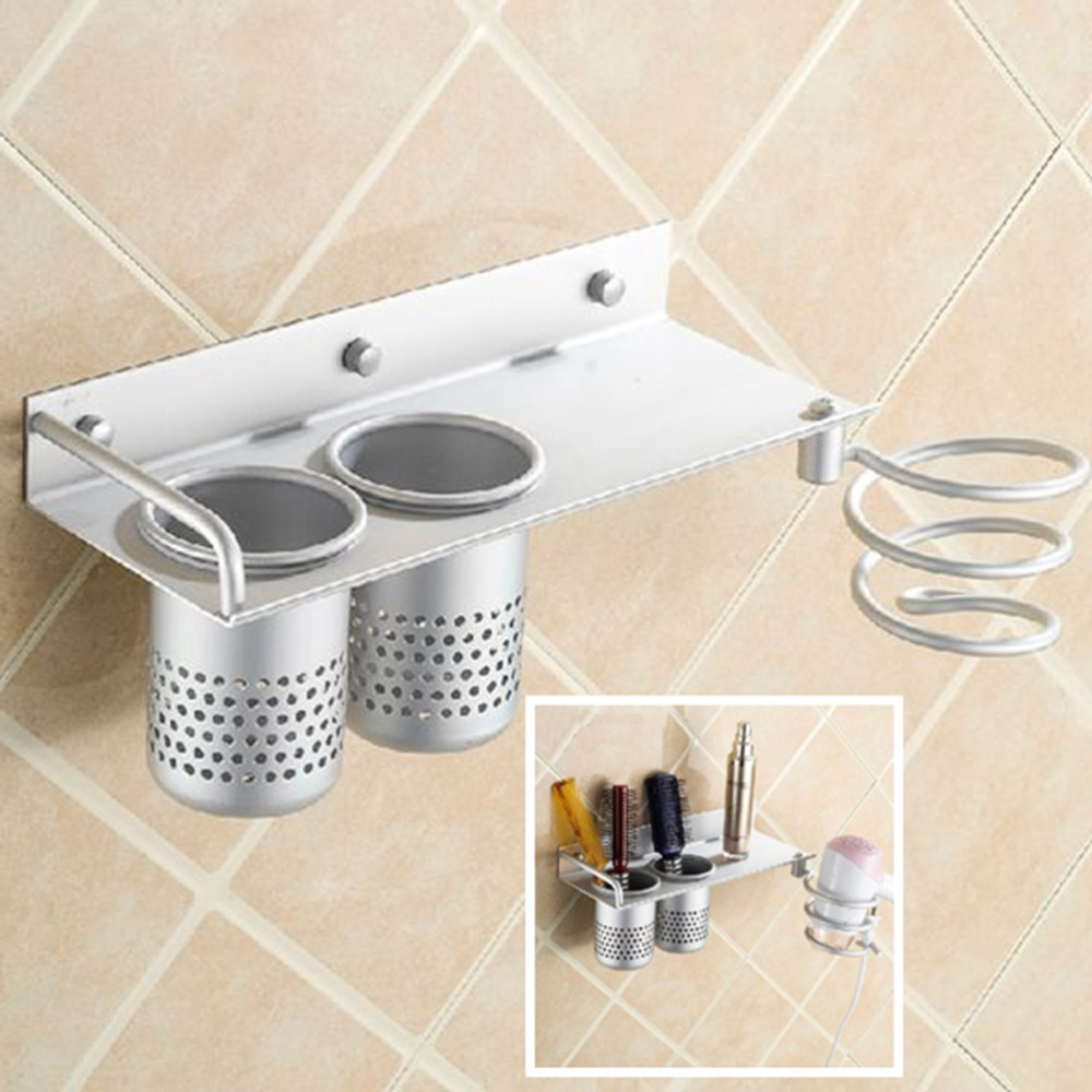 Multi Function Storage Organizer Hairdryer Holder Spiral Stand Bathroom  Wall Mounted Hair Dryer Comb Rack Space Aluminum Shelf In Bathroom Shelves  From Home ...