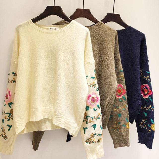 Plus Size 4XL 2017 Womens Fashion Winter Autumn O-Neck Collar New Embroidery Sleeve Solid Loose Cotton Sweater Pullovers YY541