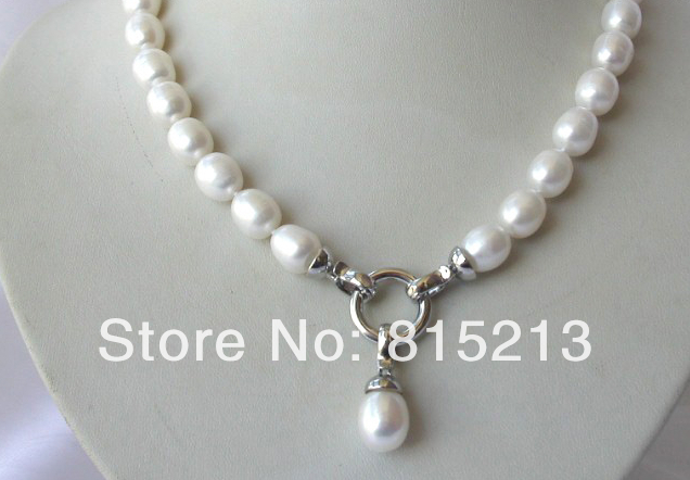 цены FREE SHIPPING>@@> stunning big 12mm baroque white freshwater cultured pearl necklace