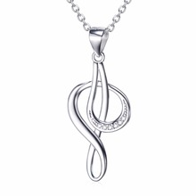 GNX10035 100% Real 925 Sterling Silver Necklaces Crystal Music Note Pattern Hollow Necklace Classic Luxury Jewelry For Women