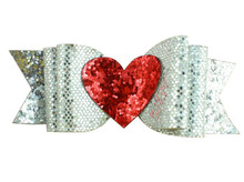 Adogirl 10pcs Valentines Day Hair Bows 4inch Loveheart Sequins Clips for Gifts Handmade Boutique Accessories Headwear