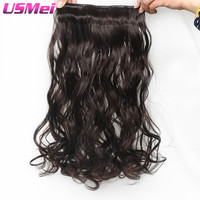 USMEI Clip In Hair Extension 24 Inch Long Wavy Brown Extension Hair 5 Clips Piece Wave