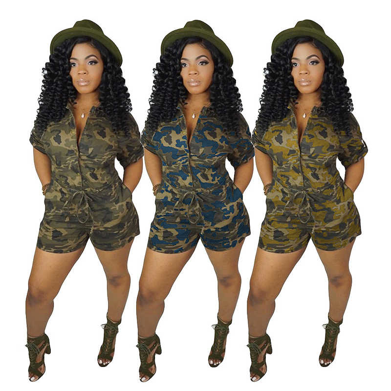 a679cae291846 ... 2019 New Autumn Long Sleeve Deep V Neck Camouflage Jumpsuit Women Front  Army Green Casual Camo ...
