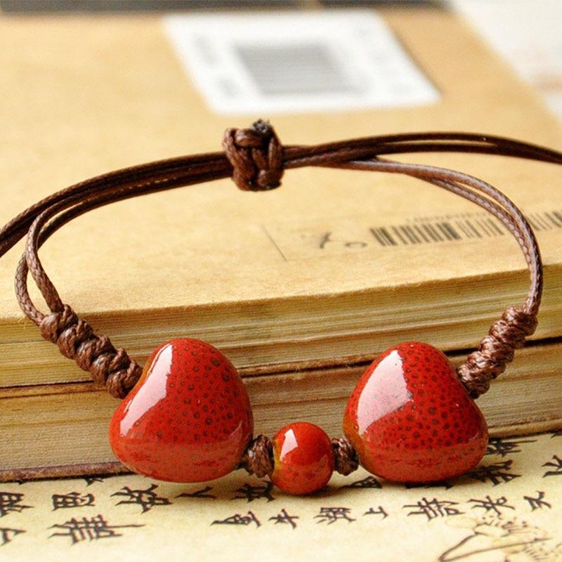 Heart Bracelets Women Men Ceramic Beads Weave Rope Chain Cuff Bangles Love Charm Wristbands Jewelry Accessories Adjustable bracelet
