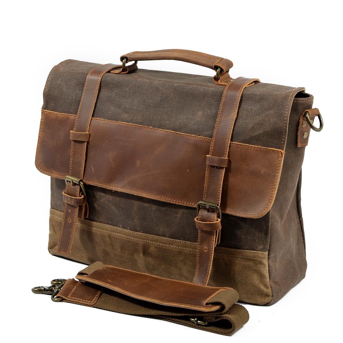 2018 Vintage Men Briefcases Laptop Business Messenger Shoulder Crossbody Bag Real Cow Genuine Leather & Canvas Travel Hand Bag