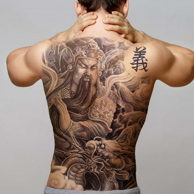 Temporary Back Tattoos For Men Temporary Tattoo Sticker Chinese Large Tattoo Black Tribal Designs Big Fake Tatoo For Boys Decal Temporary Tattoos Aliexpress